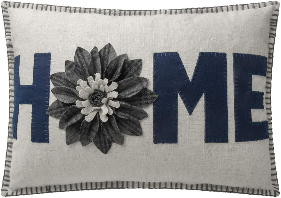 JWH 3D Sunflower Accent Pillow Case Wool Handmade Cushion Cover Decorative Stereo Pillowcase Home Bed Living Room Office Chair Couch Decor Gift 14 x 20 Inch Linen Navy Blue