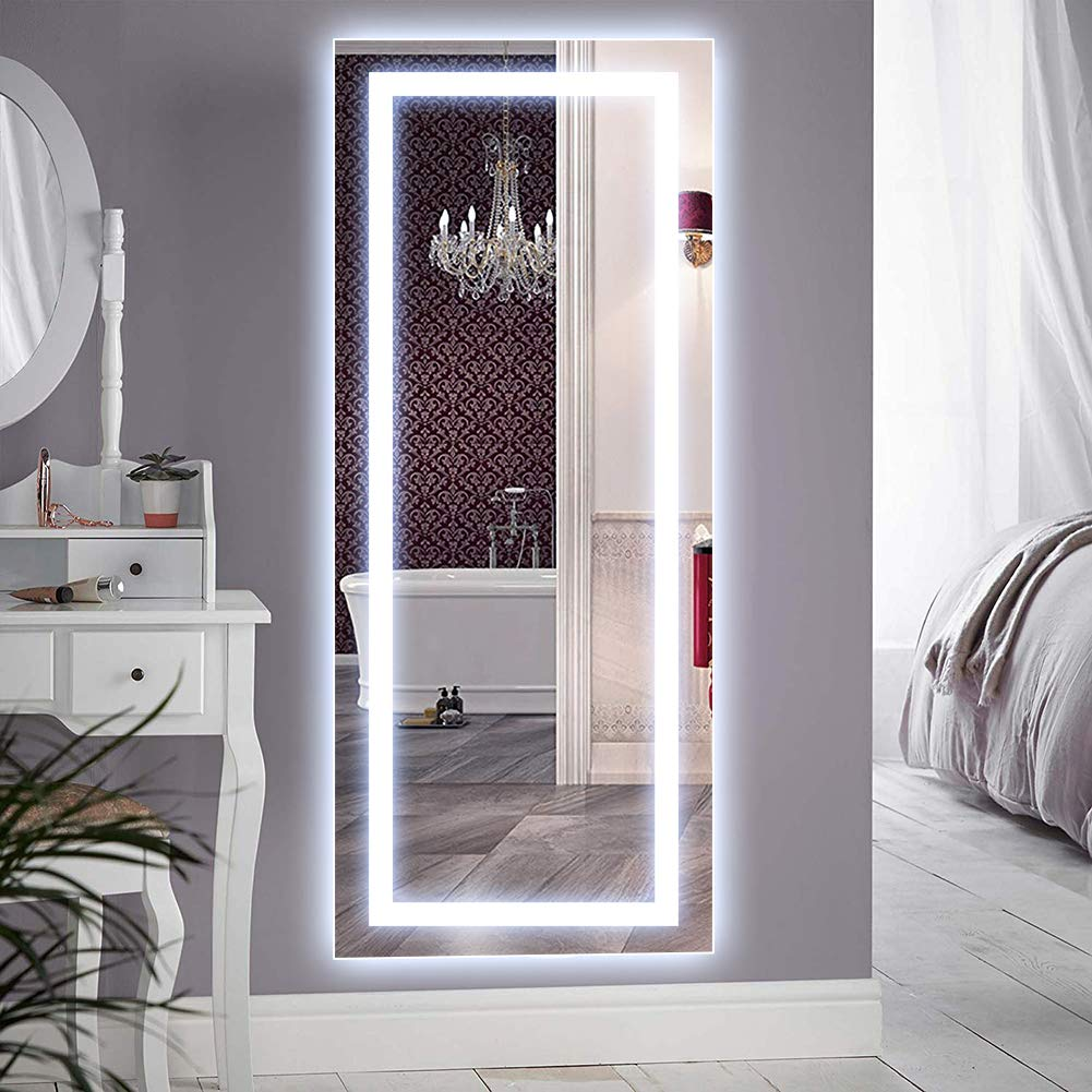 QiMH Vertical 47x22 Inch Wall Mounted LED Lighted Vanity Mirror with Aluminum Frame Backlit, Bedroom and Bathroom Hanging Rectangle Whole Body Mirror