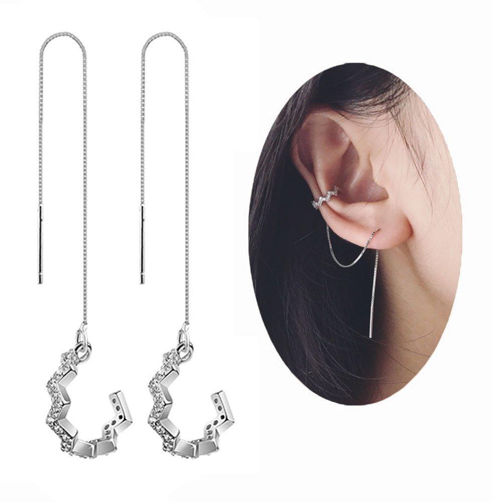 SDHero 925 Sterling Silver Cross Design Wave Cuff Earrings Wrap Tassel Earrings for Women Threader Tassel Chain