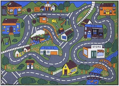 "Ottomanson Jenny Collection Grey Base with Multi Colors Kids Children's Educational Road Traffic System Design(Non-Slip) Area Rug, 8'2"" X 9'10"", Multicolor"