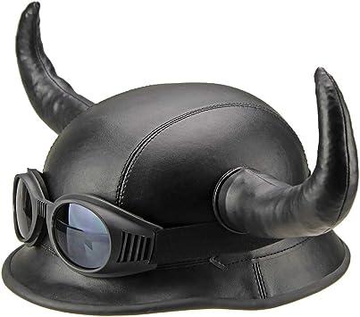 Wldoca Retro Persönlichkeit Horn Helm Motorrad Sommer Retro Helm Mit Brille Und Abnehmbare Horn Harley Vintage Bandit Helm Moto Jet Helm Dot Certified Helm Küche Haushalt