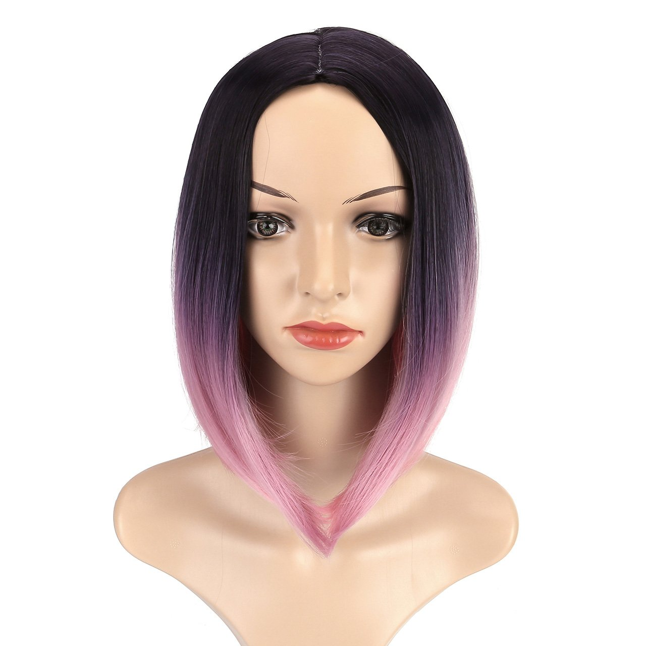 CCbeauty Ombre Bob Wig Straight With Middle Part Short Fashion Wig Cosplay Pink Ombre Wig Full Head Synthetic Wig for Women 14 Inches