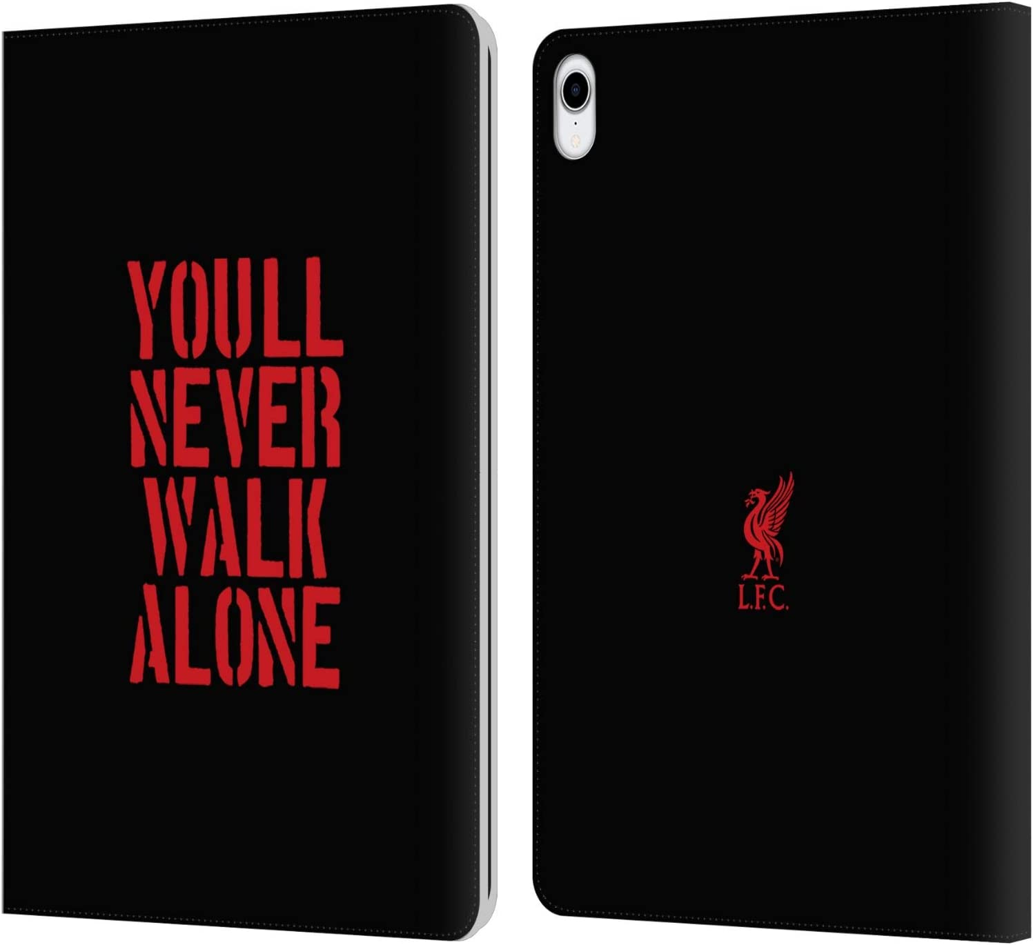 Head Case Designs Officially Licensed Liverpool Football Club Stencil Black Liver Bird YNWA PU Leather Book Wallet Case Cover Compatible with Apple iPad Pro 11 (2018)