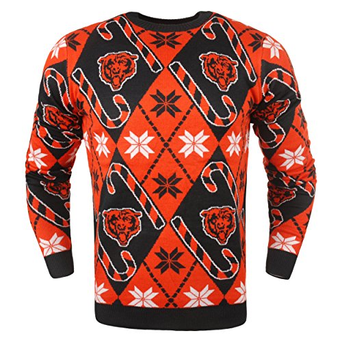 Chicago Bears Nfl Candy (Chicago Bears Official NFL Candy Cane Repeat Crew Neck Sweater)
