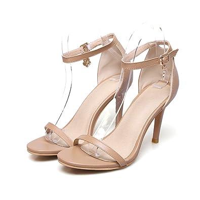 QIN&X Sandales Femmes Talon Bas Chaussures d'été à Bride,Golden,42