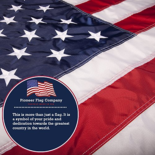 American Flag By Pioneer Flag Company. DuPont Nylon With Embroidered Stars And Sewn Stripes, 3x5 ft