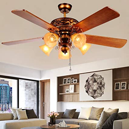 Andersonlight Classical Ceiling Fan Light 5 Lights 5 Blades For Indoor  Bedroom Living Room, Remote control, 52-Inch, Bronze