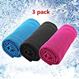 WOSON 3 Pack 95 x 33cm Mesh Cooling Towels Soft Breathable Ice Towel Reusable Yoga Biking Golf Running Towel Neck Cooler