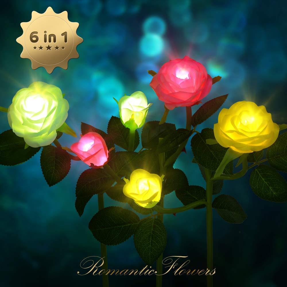 CCJK Solar Garden Lights Outdoor Decorative Rose Flowers LED Lights 3 Pack Waterproof Solar Stake Lights with 6 Rose Flowers for Garden Patio Backyard Decoration White Pink&Yellow