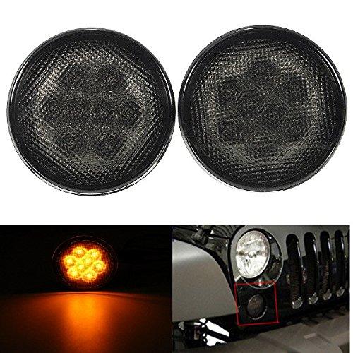Amber Front Fender Smoked Lens LED Turn Signal Light Assembly for Jeep Wrangler 07-15