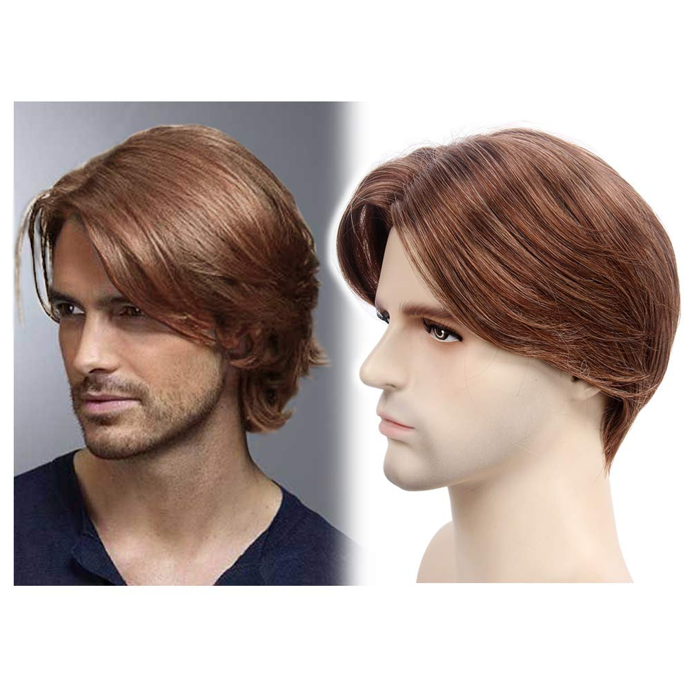 STfantasy Mens Wig Ombre Brown Short Straight Middle Part Synthetic Hair for Male Guy Everyday Daily Cosplay Party w/Cap