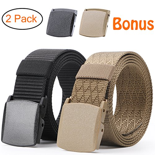 Nylon Military Tactical Men Belt 2 Pack Webbing Canvas Outdoor Web Belt With Plastic Buckle