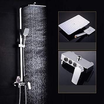 Sistema de ducha Mezclador de ducha de cromo pulido cuadrado ...