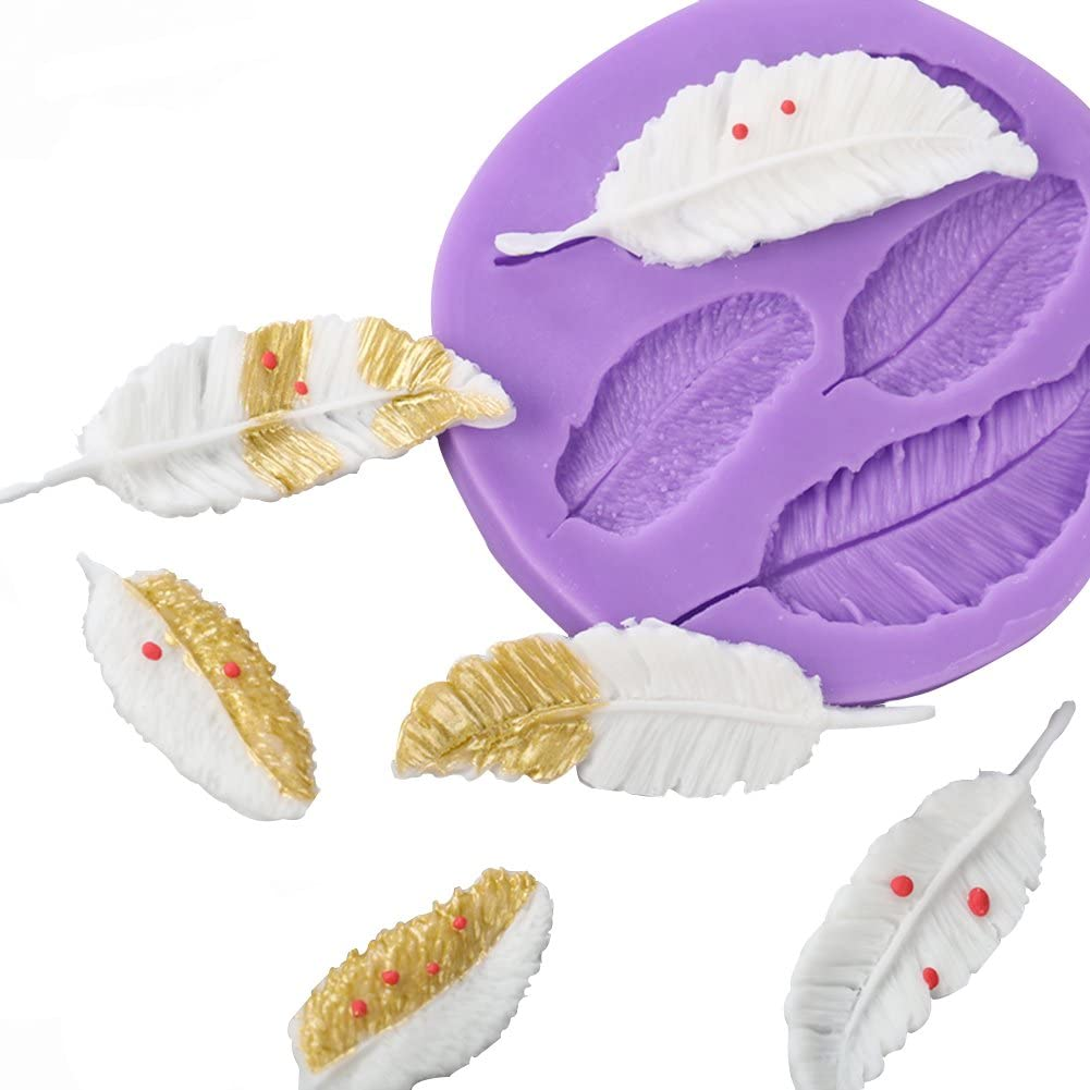 SK 4 Cavity 3D Feather Shape Silicone Cake Mold Chocolate Soap DIY Mold Baking