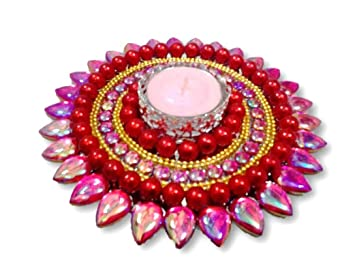b70dc7f03 Buy Unique Arts beautiful big flower floating kundan diya - FD111 Online at  Low Prices in India - Amazon.in