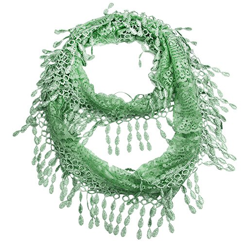 Falari Women Lace Infinity Loop Scarf With Fringes Polyester (Green) YH15-34