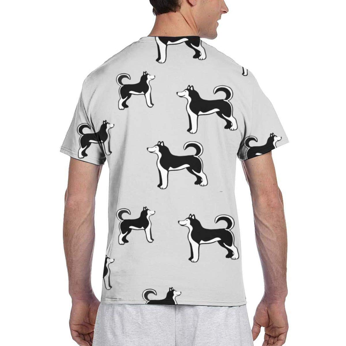 EricJohnston Siberian Husky Dog Men Camiseta de Manga Corta ...