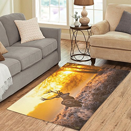 "InterestPrint Home Decor Elk Deer Area Rug 5'x 3'3"", Christm"