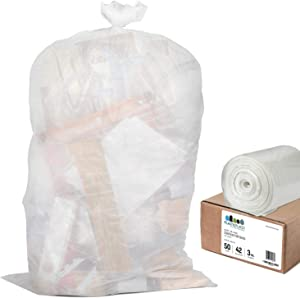 "Plasticplace Contractor Trash Bags 42 Gallon │ 3.0 Mil │ Clear Heavy Duty Garbage Bag │ 32.6"" x 46.4"" (50 Count)"