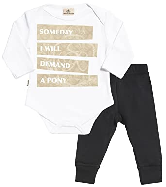 Baby T-Shirt /& Baby Jersey Trousers Someday I Will Demand A Pony Baby Set Baby T Shirt /& Baby Bottoms Outfit SR