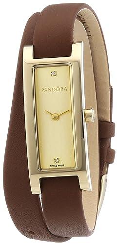 Pandora 812019LG - Reloj analógico de mujer de cuarzo con correa de piel marrón: Amazon.es: Relojes