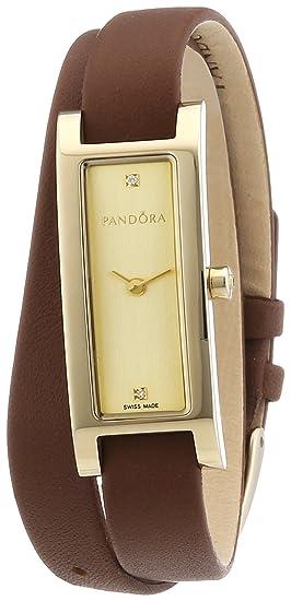 Pandora 812019LG - Reloj analógico de mujer de cuarzo con correa de piel marrón