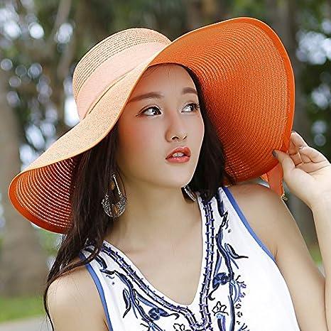 LOF-fei Donna Estate Cappello da Sole Moda Tesa Largo Spiaggia Cappucci di  Paglia floscio 8b33e33bdf4c