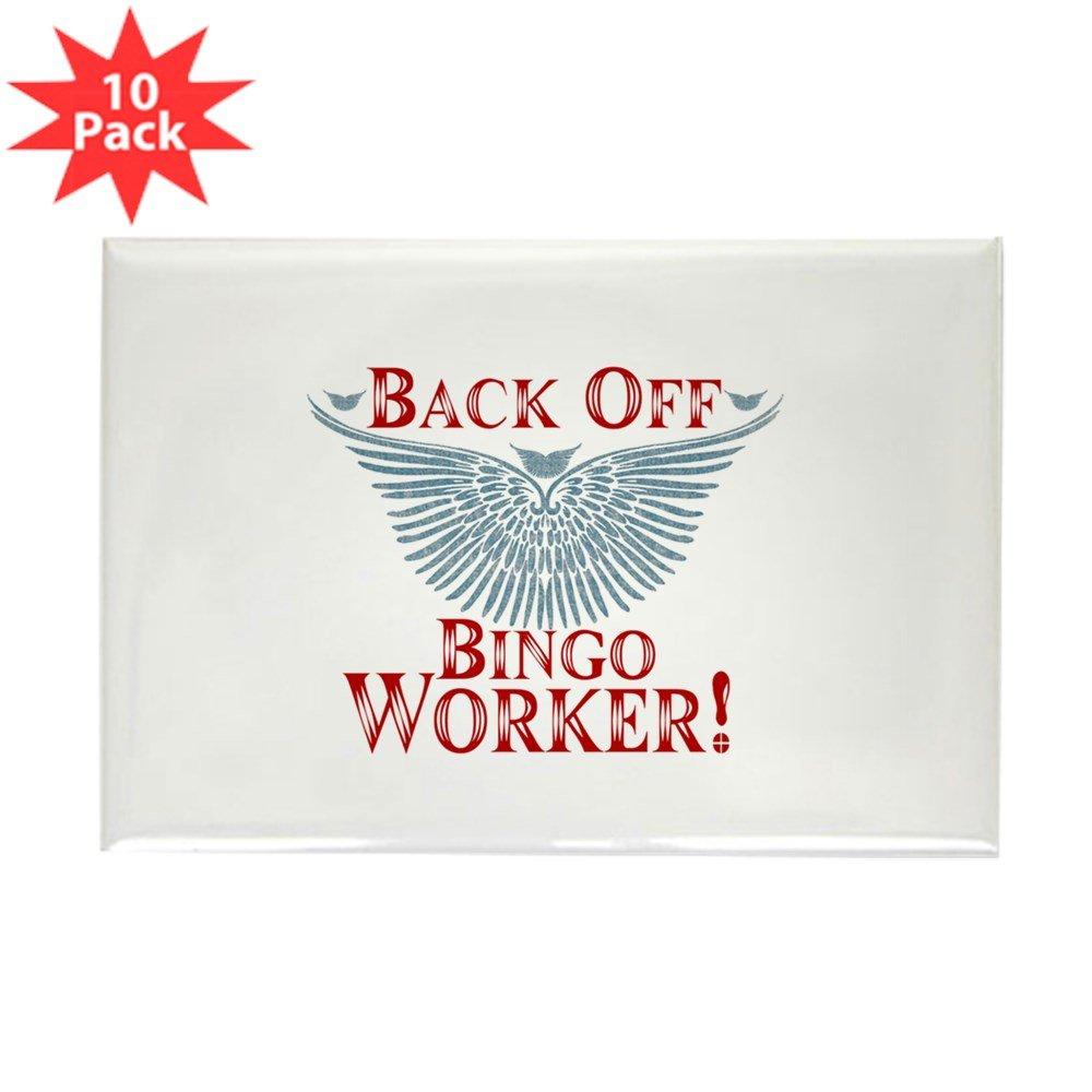 CafePress - Back Off Bingo Worker Magnets - Rectangle Magnet, 2''x3'' Refrigerator Magnet (10 pack)