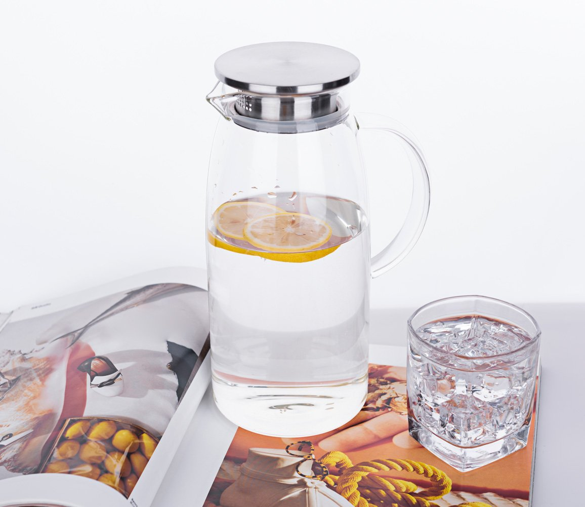 60 Ounces Glass Pitcher with Lid, Hot/Cold Water Jug, Juice and Iced Tea Beverage Carafe by Purefold (Image #2)