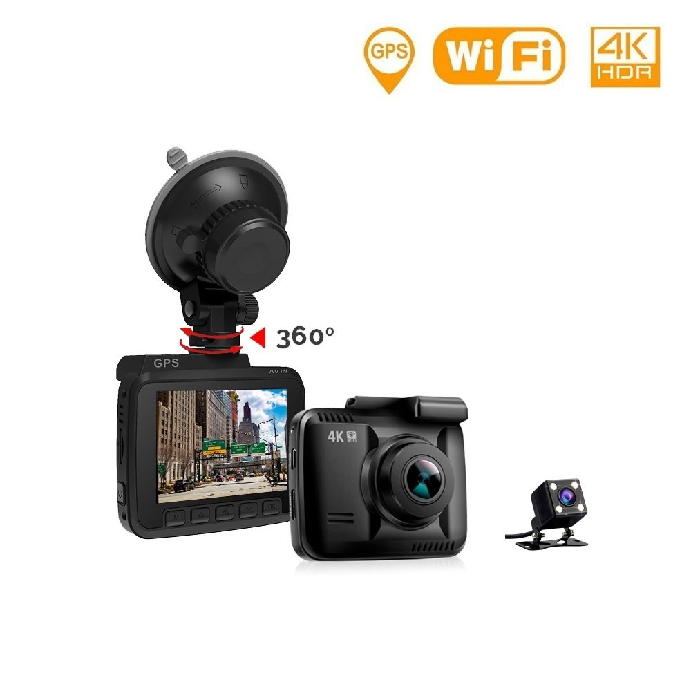Lifechaser Dual Dash Cam Car Camera 4K UHD WIFI GPS Night Vision 150° with Front and Rear Camera, 2.4'' LCD, Parking Mode, Time Lapse, WDR, G-Sensor, Loop Recording for Cars, Trucks