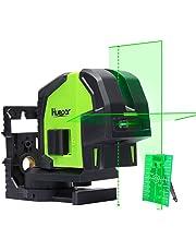 Huepar 8211G Nivel Láser Verde - Láser autonivelador de alineación de dos puntos - Nivelador Láser de líneas 130° automática horizontal/vertical - Nivel láser combinado verde en cruz con base