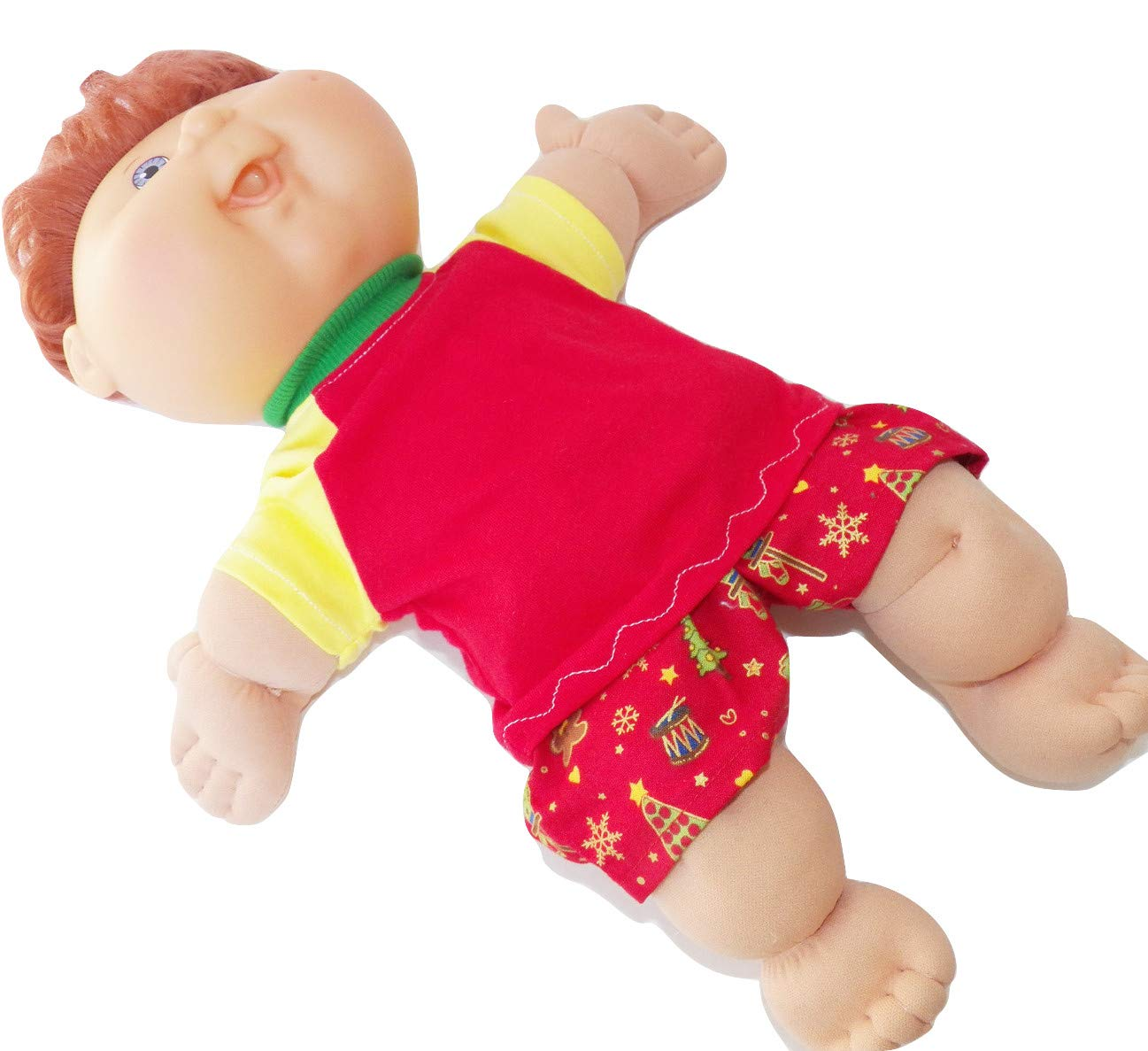 Cabbage Patch Doll Clothes Fits 14 inch Boy or Preemie or Bitty Baby Red Yellow Tree Print Shorty Pajamas