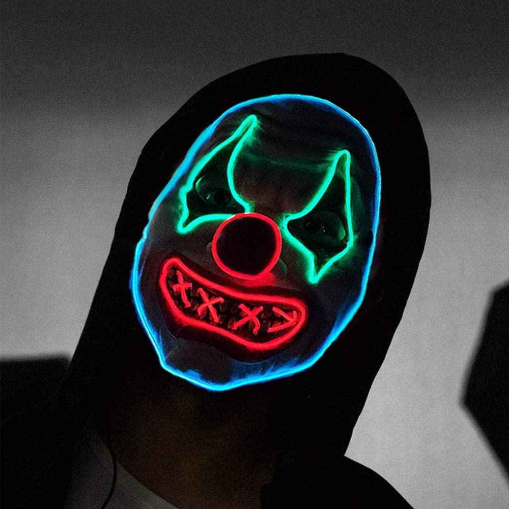 Halloween Light Up Mask Led Scary Latex Clown Mask for Halloween Festival Party Sound Induction Twinkling with Music Speed
