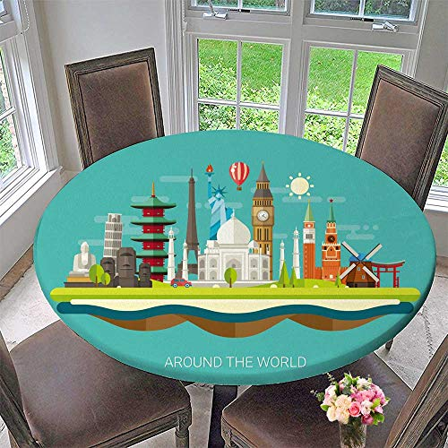 PINAFORE HOME Round Tablecloth Postcard with Famous World Landmarks Icons for Kitchen 59