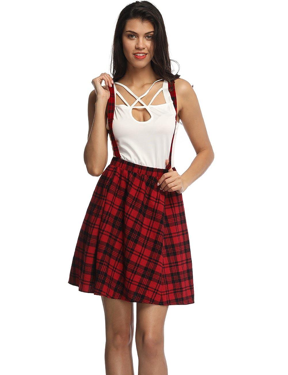 231f8be85 Queenromen Women's Plaid Flared Suspender Skirt Elastic Waist Tartan Short  Braces Skirt Rockabilly Skater Dress: Amazon.co.uk: Clothing