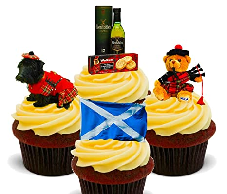 Escocia Fun Pack, comestible cupcake toppers - Pie oblea ...
