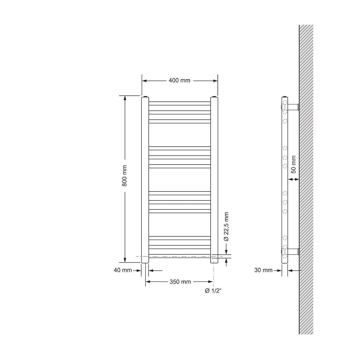 blanco secador de toalla 300 x 1800 mm dise/ño plano con conexi/ón central ECD Germany Radiador de ba/ño No electrico