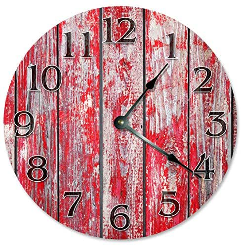 Amazon Com Red Barn Wood Clock Large 10 5 Quot Wall Clock