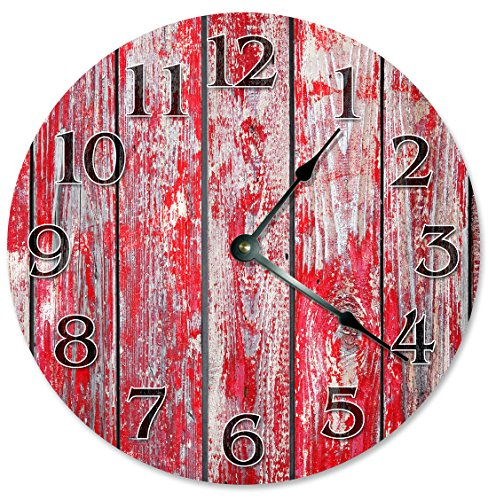 RED BARN WOOD Clock - Large 10.5