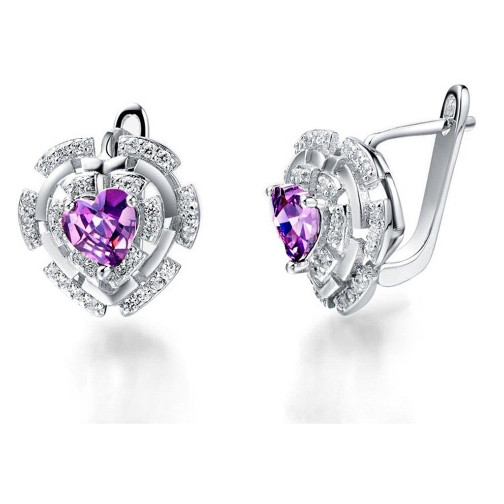 Novelty Earrings KnSam Women Platinum Plate Pierced Stud Earrings Heart Purple Crystal Rhinestone
