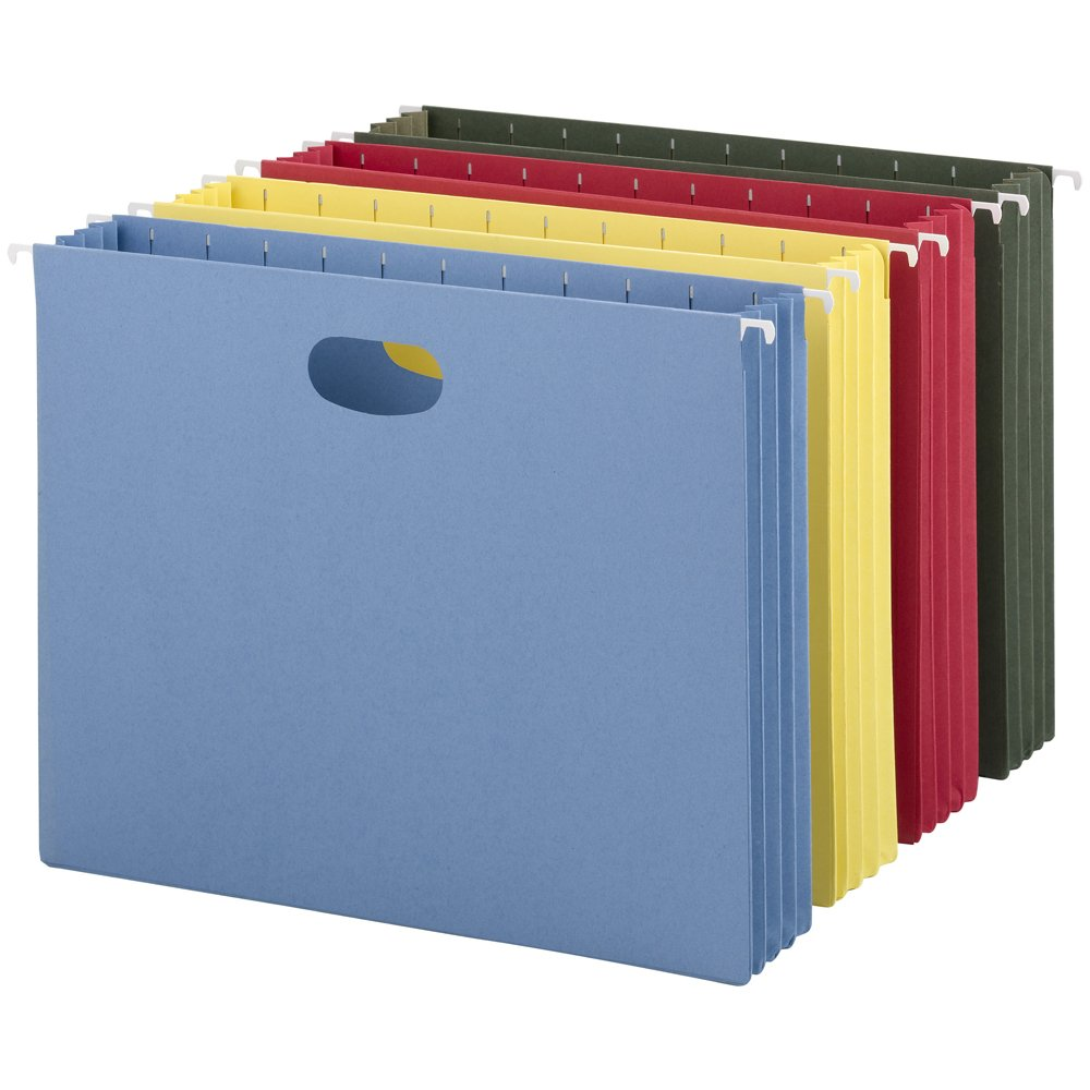 Smead Hanging Pocket File Folders with Full Height Gusset, Letter Size, 8.5 x 11, Assorted, 4 Per Pack (64291)