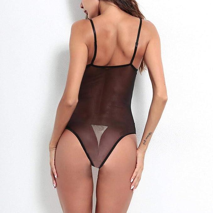 ❤ Lencería Profunda con Cuello en V Mujer, Sexy Tentación de Encaje Ropa de Dormir Black Sissy Underwear Absolute: Amazon.es: Ropa y accesorios
