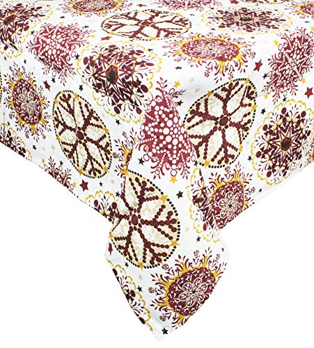 Fennco Styles Holiday Decor Red Snowflake Print Table Topper -60