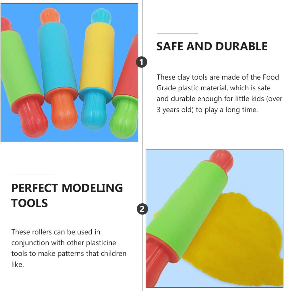 NUOBESTY 4pcs Clay Rolling Pin Soft Clay Plasticine Dough Modelling Roller Sticks Children Clay and Dough Playing Tools Kids Playdough Kit