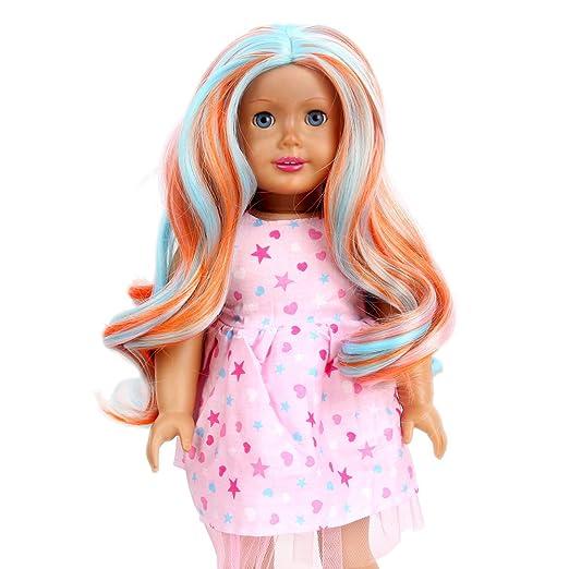 stfantasy American Girl muñeca peluca largo Ombre Rizado ...
