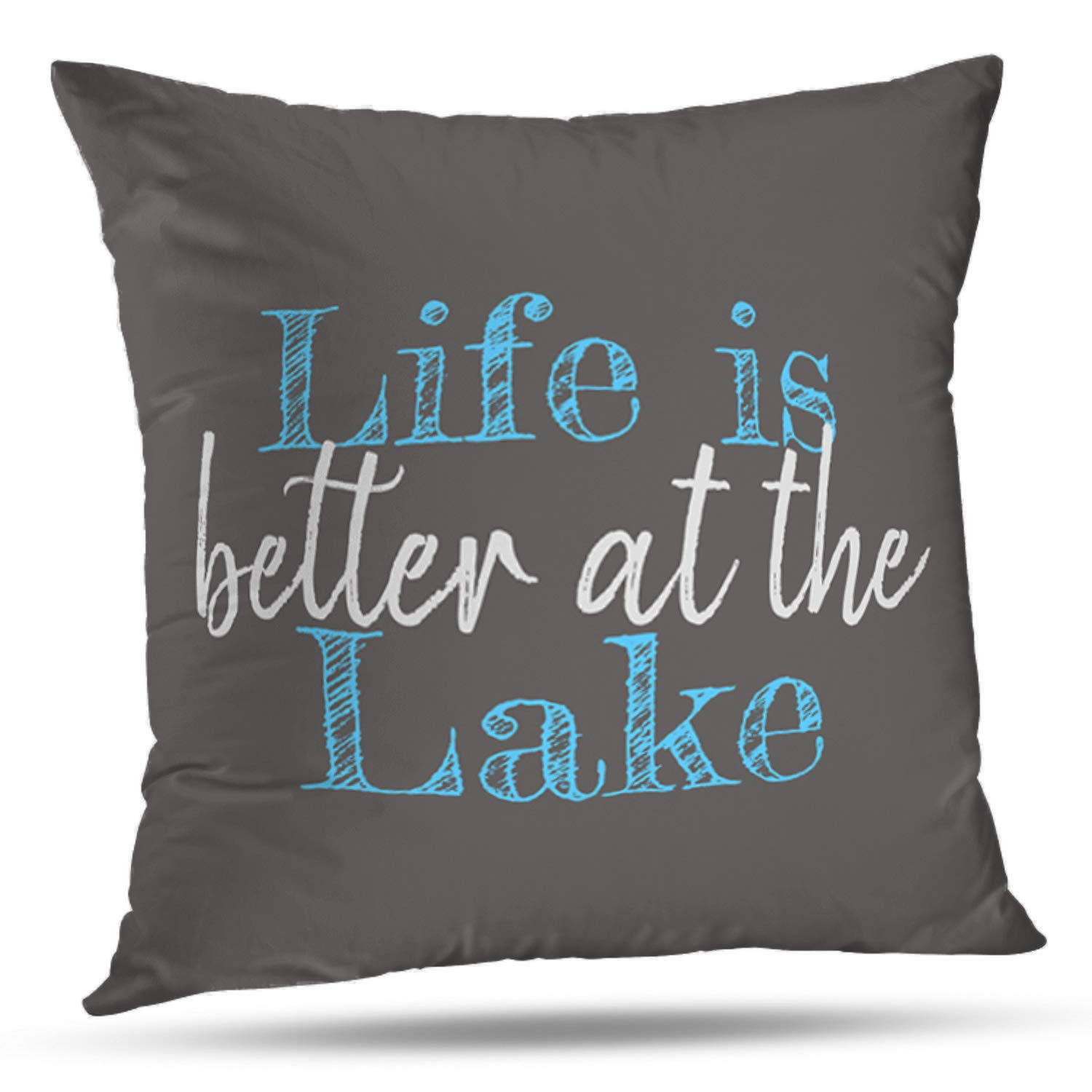 CHERRY.1 Leisure Life Funny Inspirational Sayings Better to Wake at The Lake Paddle in Turquoise New Home Decorative Soft Cotton Polyester Throw Cushion Cover Pillow Case Square 18 Inches