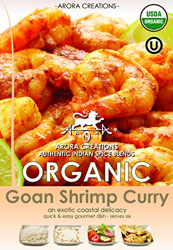 Asian Garlic Shrimp (Arora Creations USDA-Organic GOAN SHRIMP Curry Indian Spice Blend 0.9oz (6 Pack) (7 Flavors Available) (Curry / Seasoning / Herb / Mix))