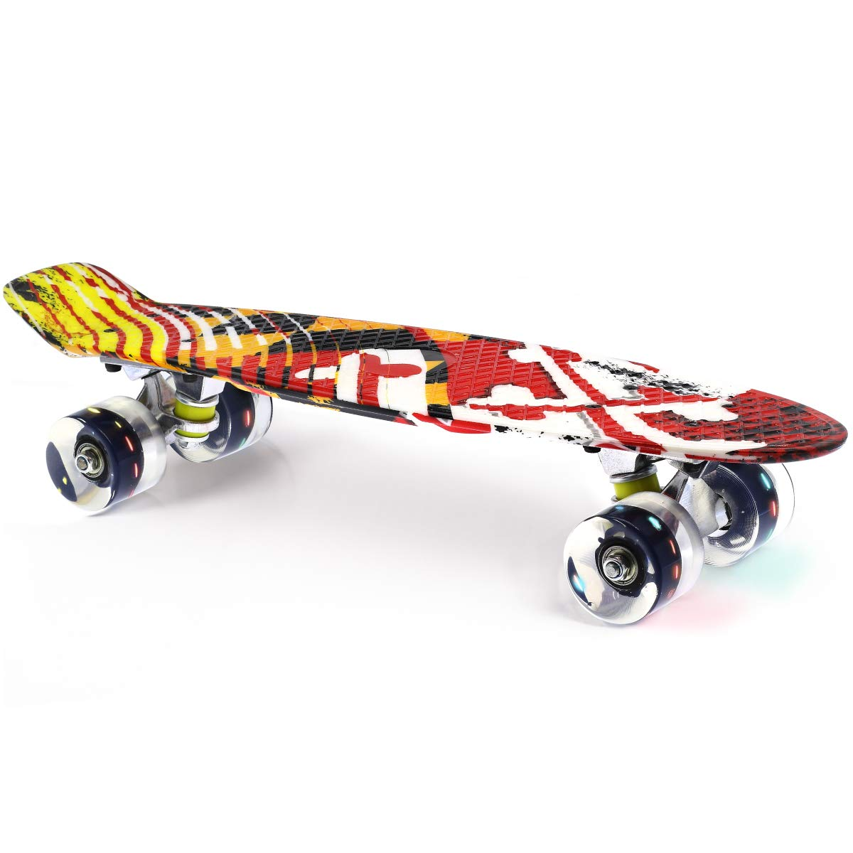 Merkapa 22'' Complete Skateboard with Colorful LED Light Up Wheels for Beginners (Black Wheels Board)