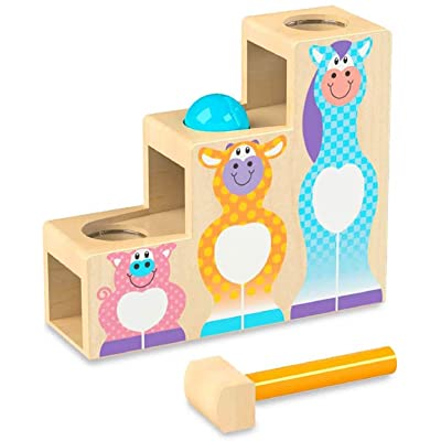 Melissa & Doug First Play Pound & Roll Stairs Wooden 3 Piece Baby Kids Hammer & Ball Toy: Toy: Toys & Games