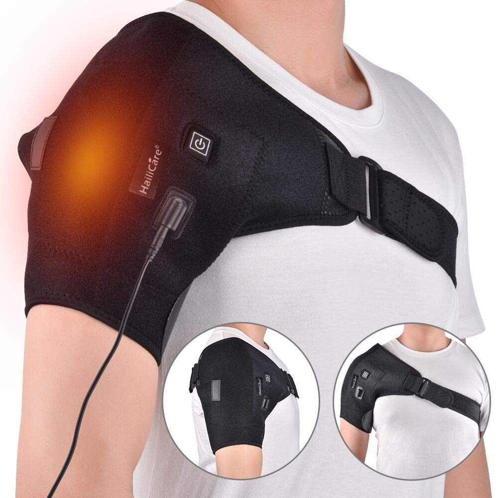 Shoulder Heat Brace - Adjustable Stability Brace Provide Therapy, Recovery and Injury Relief for Rotator Cuff, Dislocated AC Joint, Sprain, Labrum Tear, Rehab, Shoulder Pain